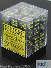 CHESSEX vortex 12mm SET OF 36 D6 BLACK WITH YELLOW DICE FOR MTG POKEMON