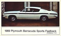 "1969 Plymouth BARRACUDA Sports Fastback (Formula ""S"") Dealer Promo Postcard VG ^"
