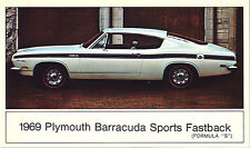 "1969 Plymouth BARRACUDA Sports Fastback (Formula ""S"") Dealer Promo Postcard VG ^"