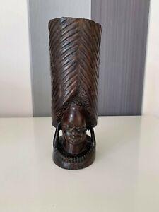 Superb Vintage Wood Hand Carved Large African  Head Sculpture