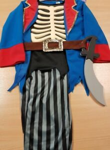 Childrens Blue Pirate Skeleton Halloween Fancy Dress Costume with Sword Aged 5-7