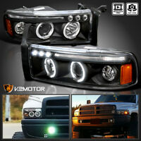 1994-2001 Dodge Ram 1500 2500 3500 LED Halo Projector Headlights Black Pair