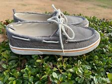 FADED GLORY Gunpowder Gray Top Sider Canvas Loafers Oxfords Mens Sz 11 🐾m17