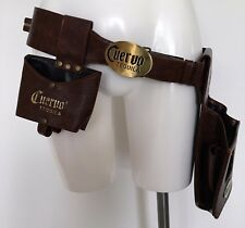 CUERVO TEQUILA brown leather holster/belt with additional glass holder and bag.