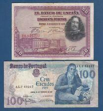 50 Pesetas 1928. Spain banknotes + 100 Escudos 1981. Portugal banknotes !