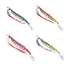 Set of 4 Wooden Fishing Shrimp Cuttlefish Squid Jig w 3.5g wt(Glow in the Dark)