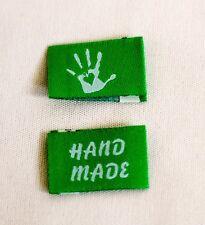 10 Handmade Webetiketten Labels Handmade with Love Grün/hellblau 9 Farben Wählb.