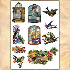 Vintage Victorian Birds Bird Cages Sticker Decal decoupage up cycling craft