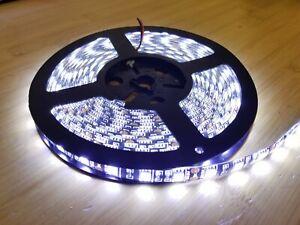 USA 5M 16ft Flexible White 300 LED Strip Light SMD 5050 Waterproof Black Backing