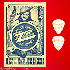 Zz Top 2012 original 11x17 Concert Poster + Dusty Hill guitar pick. Portland Or.