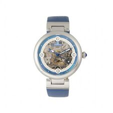 Empress Adelaide Automatic Skeleton Dial Blue Leather Women's Watch EM2505