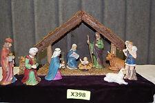 11-Pc. Porcelain & Wood Nativity Set (#XM398)