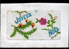 FLEURS de JOYEUX NOEL / Carte postale brodée période début 1900