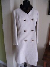 Vtg Jordan Marsh Florida Brocade Long Coat & Dress W/ Mink Fur Collar Sz 10-12