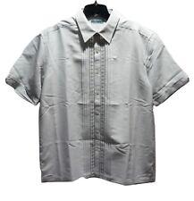 Cubavera Mens Gray Large Casual Lounge Shirt Short Sleeve Button Up