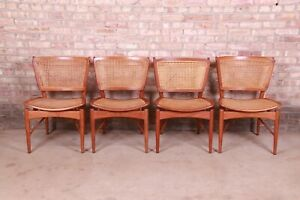 Finn Juhl for Baker Furniture Teak and Cane Dining Chairs, Set of Four
