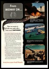 1943 Cine Kodak Battle Of Midway WWII Era 16mm Home Movie Camera Color Print Ad