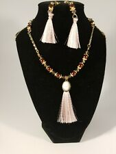 Handmade Tassel Earrings and Necklace Set, 6mm Crystal and 8mm Glass Pearl