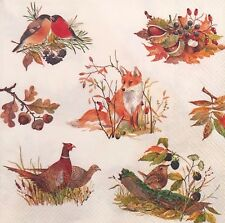 2 single paper napkins for decoupage crafts Forest Animals Fox Nuts birds autumn
