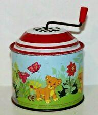 Vintage Lorenz Bolz Tin Toy Music Box Crank Noise Maker Toy RARE Lion King Scene