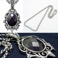 """Gothic Antiqued Stainless Steel Gemstone Pendant & 20"""" Wheat-Chain Necklace"""