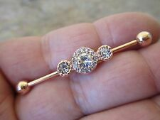 Rose Gold IP Flowers Barbell Industrial Scaffold 32mm 35mm 38mm
