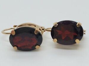10k Yellow Gold 9x7 Dark Deep Red Oval Garnets Lever Back Drop Earrings Estate