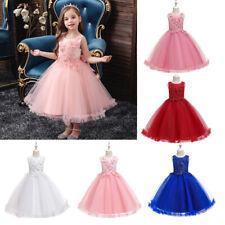 Kids Princess Long Gown Flower Girl Bridesmaid Dress Christmas Pageant Dresses