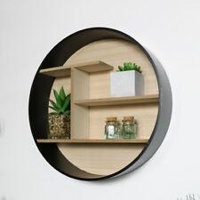 Round black natural wall mounted shelving unit shelf storage display Scandi home