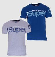 Superdry Mens New Core Split Logo T-Shirt Crew Neck Short Sleeve Blue Grey