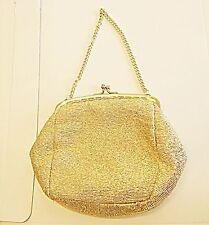 VINTAGE 60S CHIC PALE GOLD LUREX SHINEY FILAGREE FRAME CHAIN HANDLE EVENING BAG