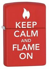 "Zippo ""Keep Calm & Flame On"" Red Matte Lighter, Full Size, 28671"