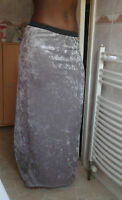 CLEARANCE Ladies Silver Grey Crushed Velvet Long Maxi Boho Hippy Goth Skirt