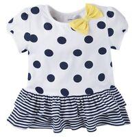 Gerber Girls Navy Blue Polka Dots White Tunic Top Ruffles - Infant & Toddler