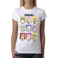 Velocitee Ladies T-Shirt Yellow Eyes Cat Face Fashion Feline Super Cute W5342
