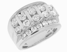 10K White Gold Real Diamond Channel Set Mens Pinky Ring 3 2/7 CT