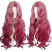 Women Pink Long Curly Natural Full Wavy Wig Hair Ladies Cosplay Party Wigs Gift