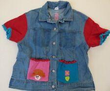 Oilily denim jacket 14 15 16 crochet trim top GIRLS 164 rainbow vintage