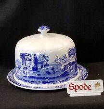 """SPODE BLUE ITALIAN CHEESE / CAKE DOME 11 1/4"""" MADE IN ENGLAND *NEW*"""