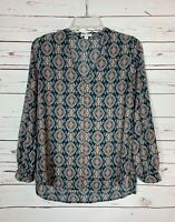 Pleione Anthropologie Women's Small Petite SP Blue Boho Fall Top Blouse Shirt