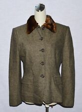 RALPH LAUREN SZ SMALL BROWN LAMB WOOL FAUX FUR COLLAR SHORT JACKET COAT