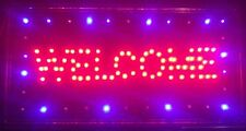 LED-Schild WELCOME ,NEU,Reklame,Leuchtreklame,licht,blau,rot, animation Sign New
