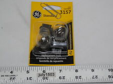 Two(2) GE 3157 Miniature Lamp Bulb 27w 8w Plastic Wedge 12 volt S8 12v Free Ship
