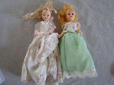 Lot of 2 Vtg 8 inch Plastic Dolls with Sleepy Eyes 81708