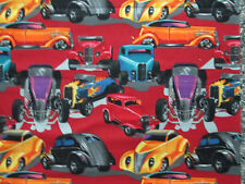 MOD HOT ROD CARS HENRY RED RARE COTTON FABRIC FQ
