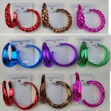S001 Wholesale Jewelry lots 9 pairs Fashion Color Hoop Earrings Us-Seller