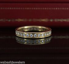 $6,500 Cartier 3.4mm 18k Yellow Gold Diamond Eternity Classic Wedding Band Ring