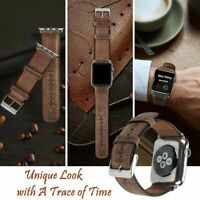 42mm 44mm Genuine Leather Replacement Strap Band For Apple Watch Series 4 Brown