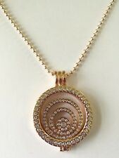 Crystal NECKLACE coin necklace Rose Gold crystal locket 32 inch Christmas 801