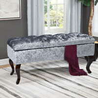 Chesterfield Storage Bench Ottoman Crushed Velvet Queen Anne Legs Pouffe Stool